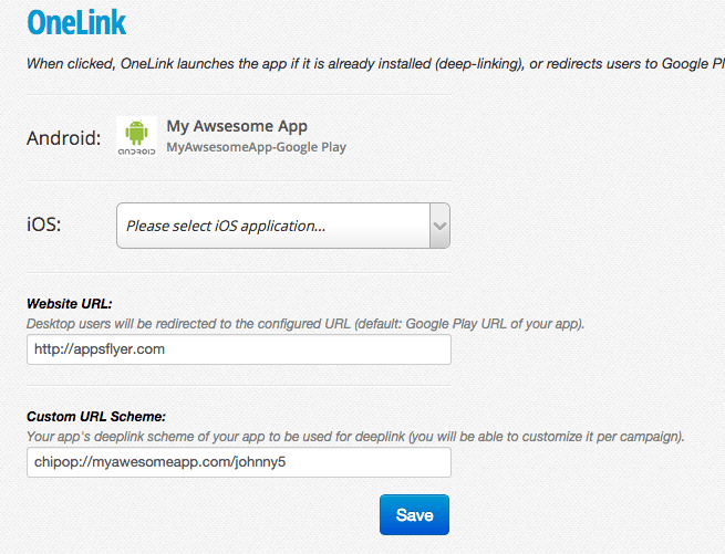 Configure OneLink Settings in AppsFlyer