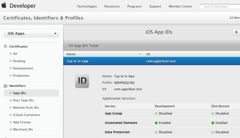App ID management in Apple Developer Portal