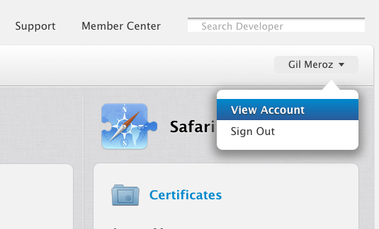 View Account in Apple Developer Portal