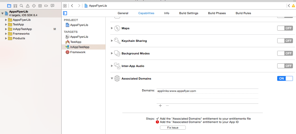 Setting Xcode domains in Apple Developer Portal