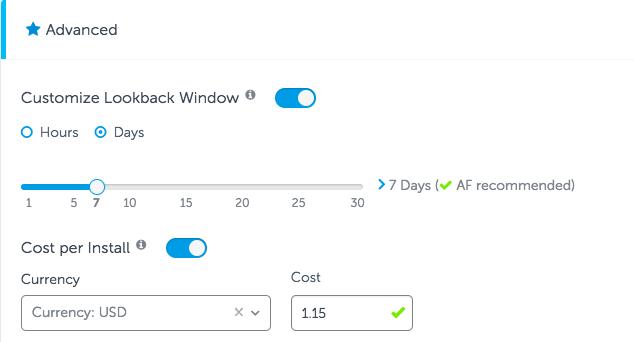 customizable lookback windows AppsFlyer