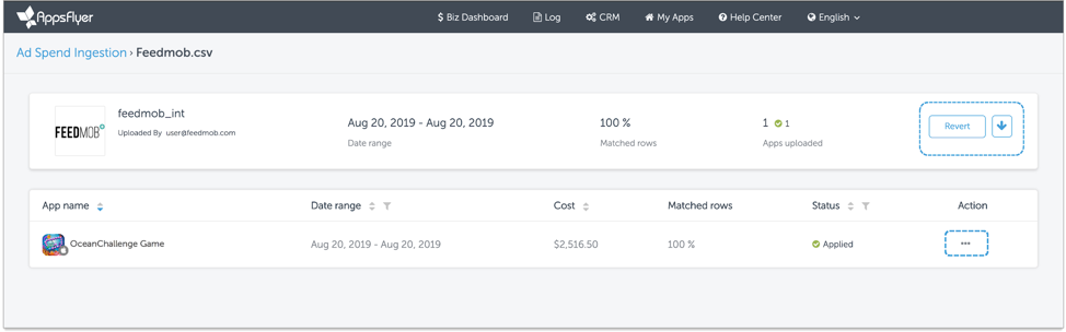 AppsFlyer's Ad Spend/Cost csv. Ingestion Page