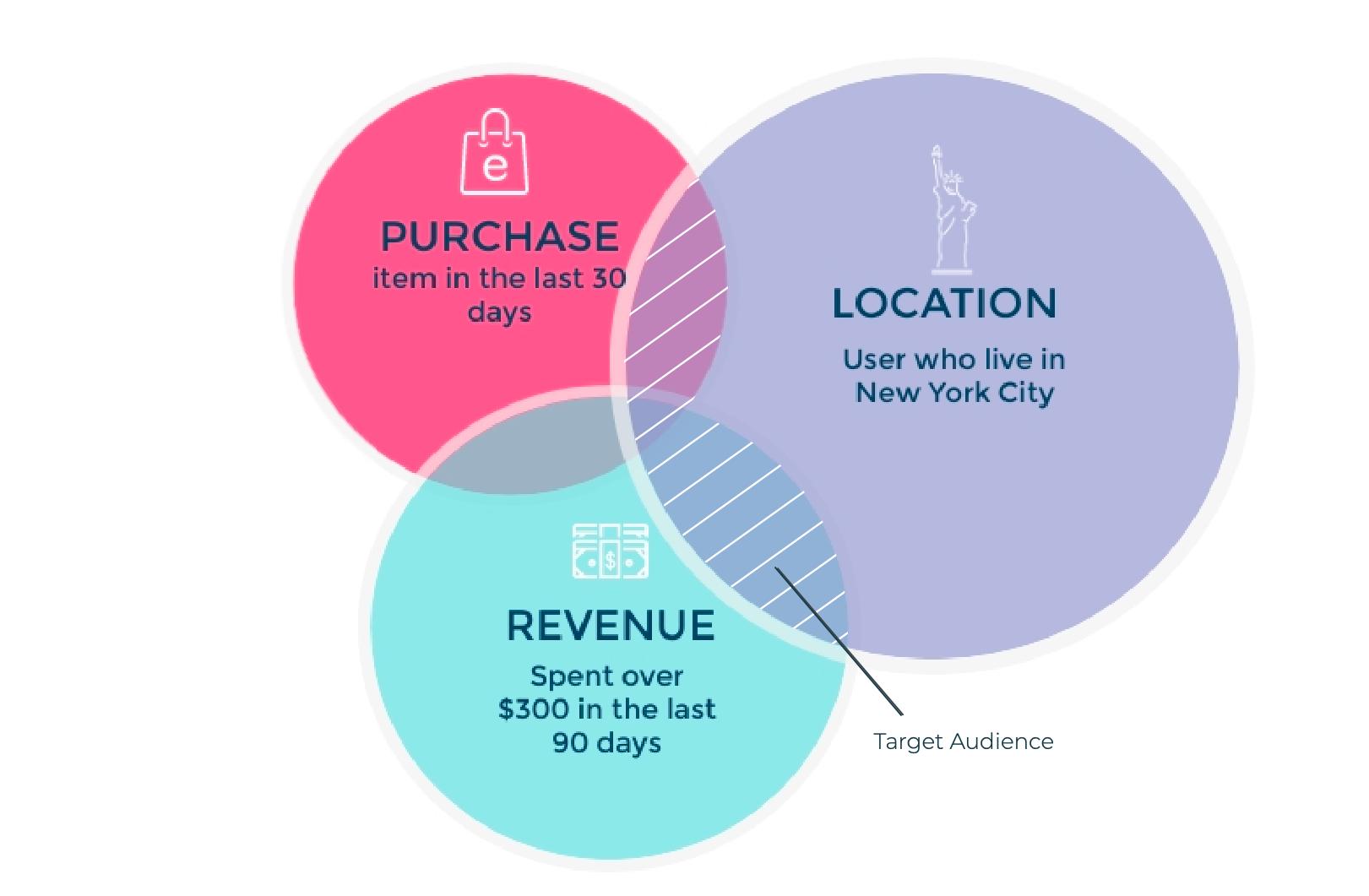 Ejemplo de segmentación de audiencias de comercio electrónico; ubicación, ingresos y compras