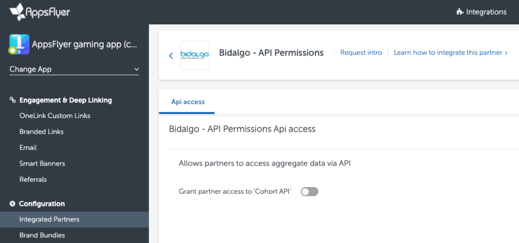 AppsFlyer Bidalgo integration