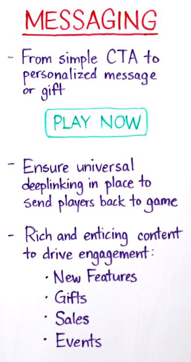 proper messaging for retargeting for mobile gaming apps