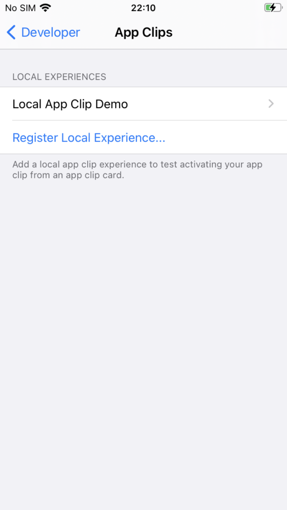 app clips register local experience