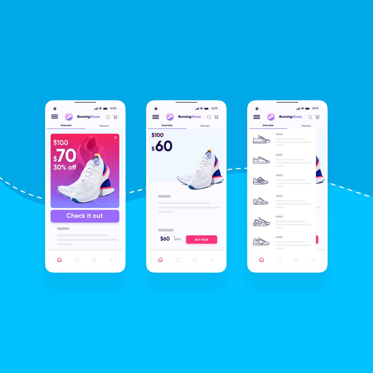 Mobile app UX - square featured
