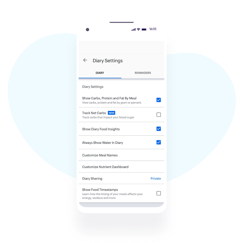 MyFitnessPal app personalization
